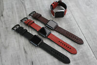 For Apple Watch Series 6 SE 5 4 44mm Thick Grain Calf Leather watch Strap Band
