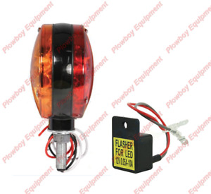 LED Amber / Red Warning Light/Flasher Unit for Tractor Combine Forage Harvester