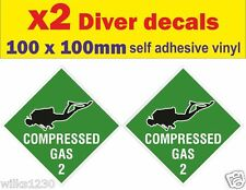 2 Scuba Diver Decals Cylinder compressed Gas Diving Bottle Tank sticker warning