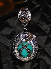 WOMEN'S ANTIQUED SILVER & TURQUOISE SOUTHWESTERN SCARF RING-HORSE, RHINESTONES