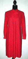Vintage St Michael 1980s New Wave Red+Navy Blue Abstract Pattern Pussy Bow Dress