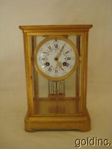 Nice French Brass & Crystal Regulater Shelve/Mantel Clock