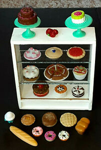 VINTAGE BARBIE FOOD AND GLASS BAKERY DISPLAY CASE W/  PIES - BREAD & MORE!!