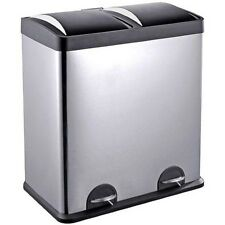 Step N' Sort 16-Gallon 2-Compartment Stainless Steel Trash and Recycling Bin