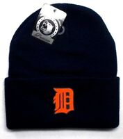 READ LISTING! Detroit Tigers HEAT Applied Flat Logo on Beanie Knit Cap hat!