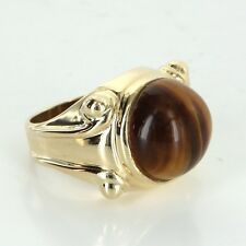 Tigers Eye Cocktail Ring Vintage 14k Yellow Gold Estate Fine Jewelry Heirloom