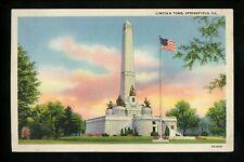 Political President postcard Abraham Lincoln tomb Springfield, Illinois IL linen