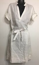 Pre Owned OffWhite Mexx Linen/cotton BeltedFoldableSleeve Vneck Woman Dress Sz 4