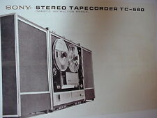 SONY TC-560 TAPE RECORDER OWNER'S MANUAL 16 Pages