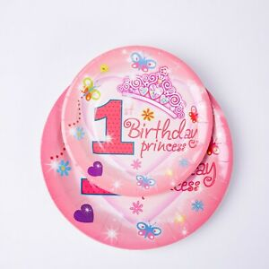 1st Birthday Pink Party Tableware Baby Girls Pink Gold Decorations Supplies Cups