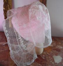 Vêtment ancien - Magnifique coiffe tulle rebrodé bordé de dentelle + Joli passe