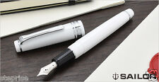 Sailor Professional Gear Slim Silver White Medium nib 14kt Sapporo Fountain Pen
