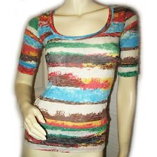 RUE21 White Multicolor Striped Abstract Art Short Sleeve Top Shirt Casual Wear S