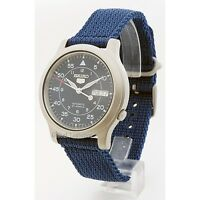 NEW SEIKO 5 SNK807K2 AUTOMATIC military WATCH (CAL.7S26C) BLUE face nylon strap