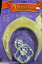 Anastasia 20th century fox Princess Crown & jewelry clip earrings & necklace set