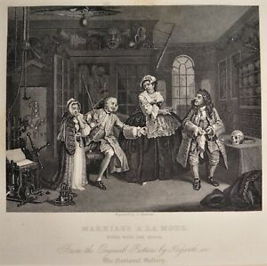Hogarth Marriage a la mode original 19th Century engraving matted ready to frame