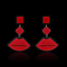 EG_ Women Vintage Red Lips Shape Pendant Dangle Stud Earrings Celebrity Jewelry