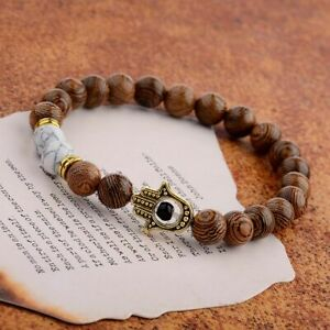 Women Men Wooden Bracelets Demon Eye Hand Fatima Hamsa Bead Reiki Bracelets Gift