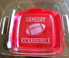 Gameday Kickasserole Etched Glass Pyrex Dish 8 X 8 Tailgating Party 2 Quart