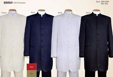 Men's Banded/Mandarin Collar Suit,Zoot/ Long Coat 6-Button Solid Fortino Landi