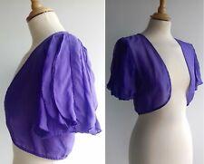 COAST Purple 100% Silk Bolero Jacket Shrug Cropped Evening Chiffon Size M UK 14