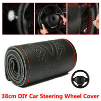 1x Black 38cm DIY Genuine Leather Car Steering Wheel Cover Embossing Accessories