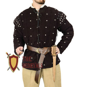 Medieval Knight Armor Dress Gambeson Quilted Costume Brn LARP Dress Renaissance