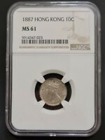 Hong Kong - 10 Cents 1887 - NGC MS 61