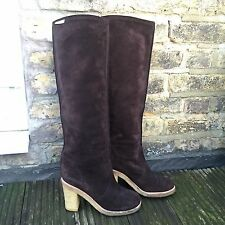 SEE BY CHLOE 100% Suede Brown Knee High Boots Rubber Sole Round Toe Size 5 38