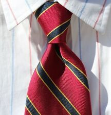 Brooks Brothers '346' Red, Midnight Blue and Gold Striped Silk Tie - USA / Italy