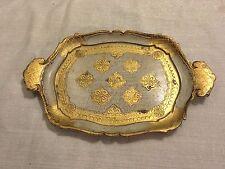 "Vintage Florence Firenze Florentine Italy 12"" Wooden Tray Gold Trim Souvenir"
