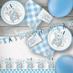 Blue Floral Elephant Baby Shower Party Supplies Tableware, Balloons, Decorations
