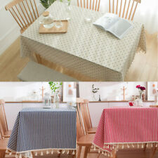 New Daisy Print Tablecloth Cotton Linen Tassel Rectangle Table Cloth Cover Towel