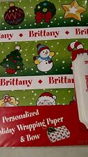 Personalized gift wrap wrapping Christmas xmas Nip Brittany. Green snowman cane