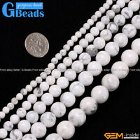 """Natural White Howlite Turquoise Gemstone Round Beads Free Shipping 15"""" 4mm-16mm"""