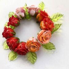 Handmade Glass Pinky Red Roses Flower SET bead Lampwork Craft Supplies 100