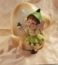 "Vintage Gorham Elf Pixie Leprechaun Girl Clover Mushroom Rare Figurine 5"" Tall"