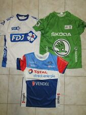 Lot 3 maillot cycliste TOUR DE FRANCE Vert Skoda TOTAL DIRECT énergie FDJ S