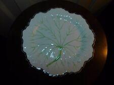 WEDGWOOD ETRURIA C6444 CREAM LEAF PLATE green silver luster lustre trim majolica