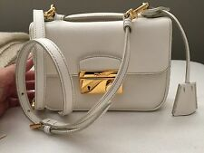 PRADA Mini Sound Creamy White Saffiano Leather Crossbody Messenger Bag Purse
