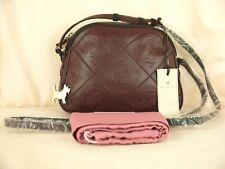 Radley Burnt Oak Embossed Small Cross Body Bag Soft Burgundy Red Leather New