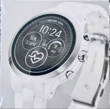 NEW! MICHAEL KORS RUNWAY ACCESS Silver & White Ceramic Smartwatch MKT5050 $450
