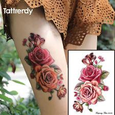 Rojo Rosas Flor Pegatinas Tatuajes Temporales Body Art 3D Rosa Impermeable UK