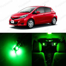 8 x Ultra Green LED Interior Lights Package Deal For Toyota Yaris 2012 - 2014