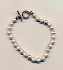 Schickes weisses Perlen-Armband mit 925 Silberpunze ca. 20cm lang aus Erbschaft