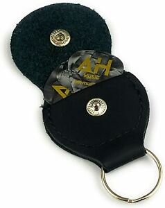 AH Music Leather Plectrum Holder Keyring 🎸Guitar Gigbag Zip Plectrum Case