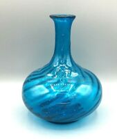 Vintage Hand Blown Art Glass Aqua Blue Swirl Onion Style Mexico Vase Bottle