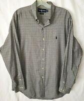 Ralph Lauren Mens Shirt 16 34/35 Yarmouth Black White Plaid Cotton Button Up