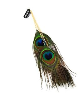 Peacock feather hair clip accessories three gold chains 3 feather
