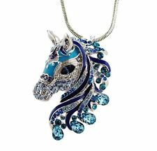"Slivertone Gorgeous Blue Horse Pendant Necklace 24"" Chain Fast Shipping"